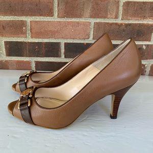 Isola peep toe leather heel pump